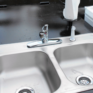 Built-in-Sink on a BBQ Pit Trailer