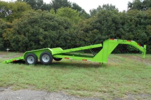 Green, 20 Foot, Hydraulic Tilt Deck Trailer built by Custom Built Gooseneck Trailers