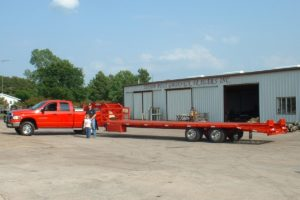 Red, 25 Foot, Pierced Frame Trailer built by Custom Built Gooseneck Trailers