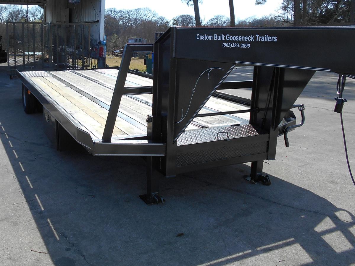 Black, 30 Foot Golf Cart Trailer built by Custom Built Gooseneck Trailers