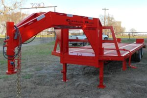 Red, 32 Foot, Pierced Frame Gooseneck Trailer with HD Ramps built by Custom Built Gooseneck Trailers