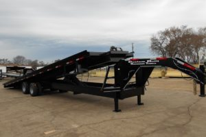 Black, 35 Foot, Hydraulic Gooseneck Container Hauler built by Custom Built Gooseneck Trailers