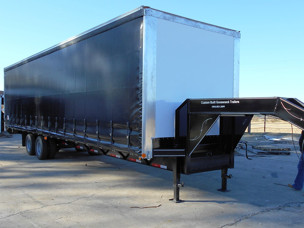 Front View of a Curtain Side Trailer built by Custom Built Gooseneck Trailers