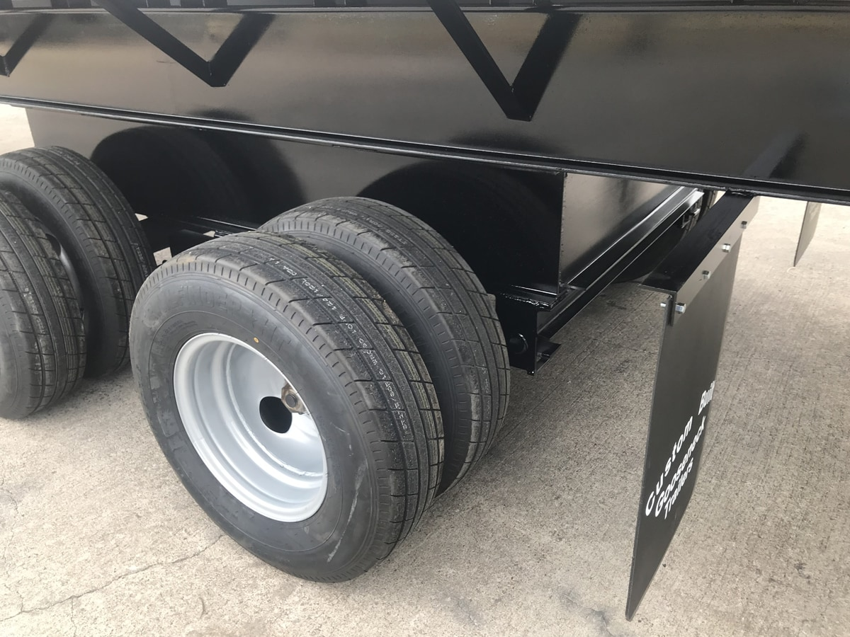 Close-up of Tires on a Specialty Trailer built by Custom Built Gooseneck Trailers